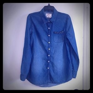 Justice size 14 denim shirt with beaded pocket